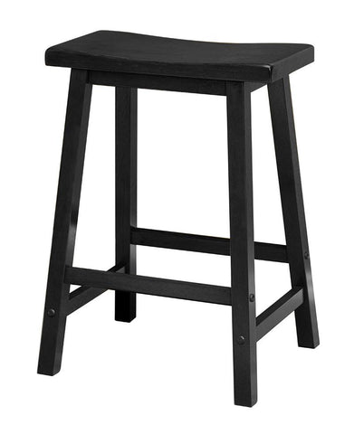 "Winsome Wood 20084 Saddle Seat 24"" Black Stool, Single, RTA - BarstoolDirect.com"