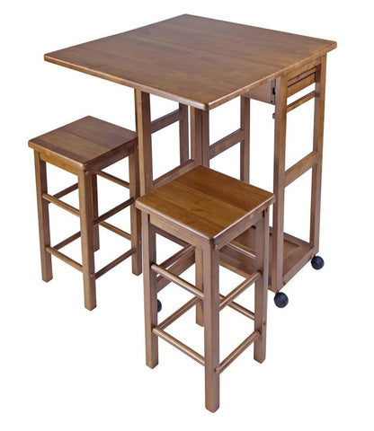 Winsome Wood 39330 Space Saver with 2 Stools, Square - BarstoolDirect.com