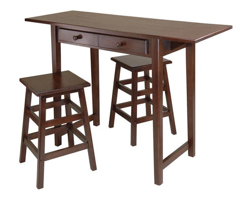 Winsome Wood 40338 Mercer Double Drop Leaf Table with 2 Stools - BarstoolDirect.com