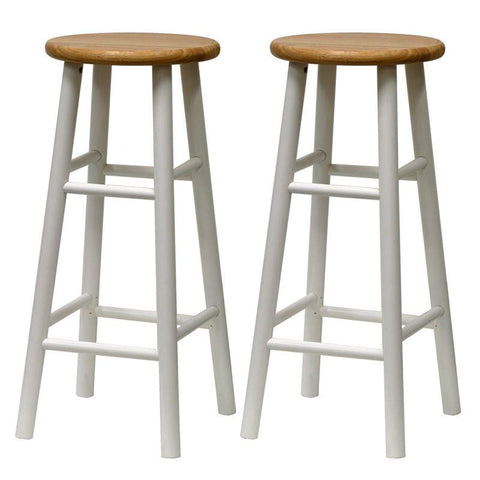 "Winsome Wood 53780 Set of 2, Beveled Seat, 30"" Stool, Assembled - BarstoolDirect.com"