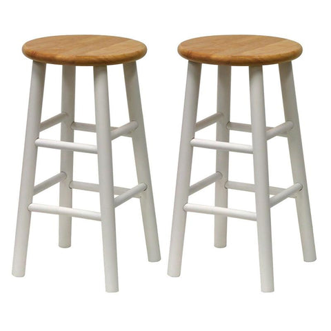 "Winsome Wood 53784 Set of 2, Beveled Seat, 24"" Stool, Assembled - BarstoolDirect.com"