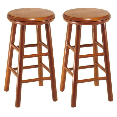 "Winsome Wood 75234 Set of 2, Swivel Seat, 24"" Stool, Assembled - BarstoolDirect.com"