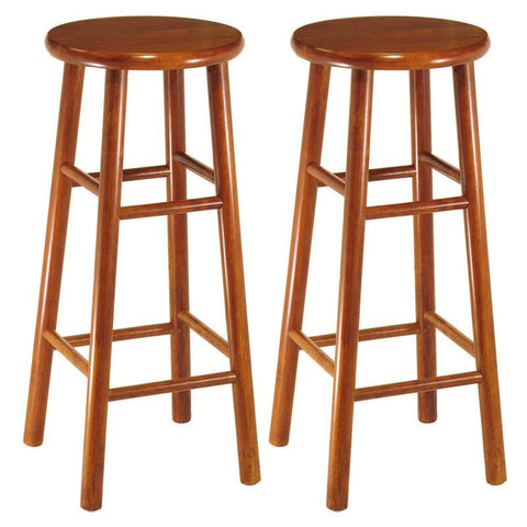 "Winsome Wood 75280 Set of 2, Beveled Seat, 30"" Stool, Assembled - BarstoolDirect.com"