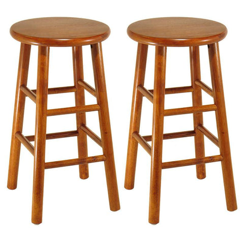 "Winsome Wood 75284 Set of 2, Beveled Seat, 24"" Stool, Assembled - BarstoolDirect.com"