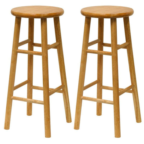 "Winsome Wood 81780 Set of 2, Beveled Seat, 30"" Stool, Assembled - BarstoolDirect.com"