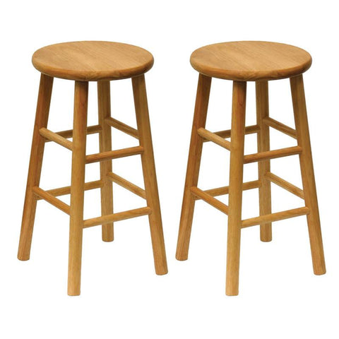 "Winsome Wood 81784 Set of 2, Beveled Seat, 24"" Stool, Assembled - BarstoolDirect.com"