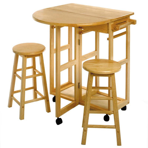Winsome Wood 89332 Space Saver, Drop Leaf Table with 2 Round Stools - BarstoolDirect.com