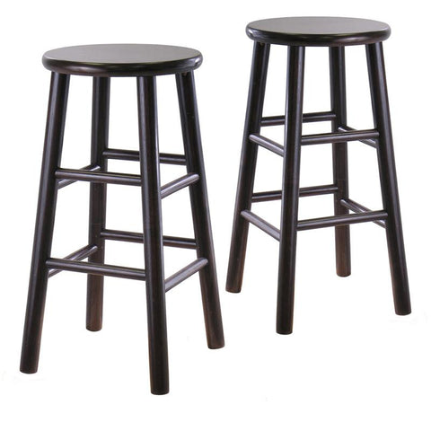 "Winsome Wood 92784 Set of 2, 24"" Bevel seat stool, Assembled - BarstoolDirect.com"