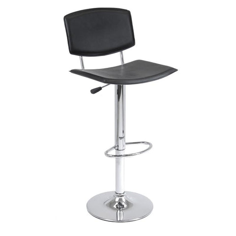 Winsome Wood 93140 Spectrum Air Lift Stool Black, Curved Seat Faux Leather, Single, RTA - BarstoolDirect.com