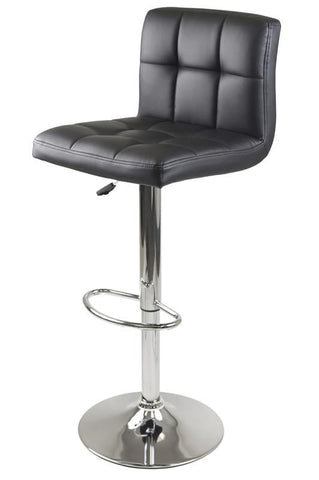Winsome Wood 93150 Stockholm Air Lift Stool, Swivel Square Grid Faux Leather Seat, Black - BarstoolDirect.com