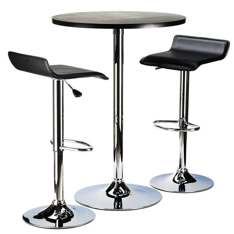 "Winsome Wood 93324 Spectrum 3pc Pub Table Set, 24"" Round Black table with Chrome, 2 Airlift Stool - BarstoolDirect.com"