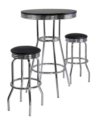 Winsome Wood 93338 Summit 3pc Pub Table Set, includes 2 Swivel Stool - BarstoolDirect.com