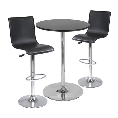 "Winsome Wood 93345 Spectrum,  3pc Pub Table Set, 28"" Round Table with 2 L-Shape Airlift Stools - BarstoolDirect.com"