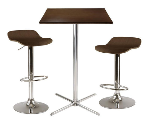 Winsome Wood 93353 Kallie 3-Pc Square Pub Table with 2 Air Lift Wood Seat Stools - BarstoolDirect.com