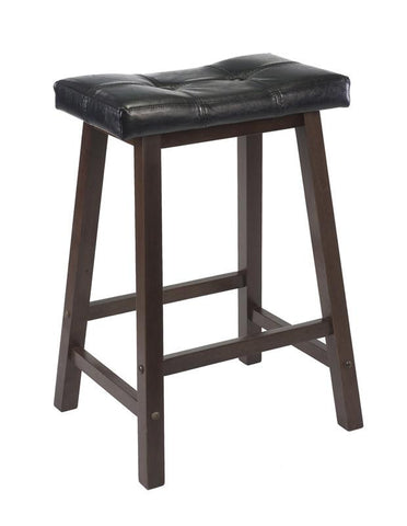 "Winsome Wood 94064 Mona 24"" Cushion Saddle Seat Stool, Black Faux Leather, Wood Legs, RTA - BarstoolDirect.com"