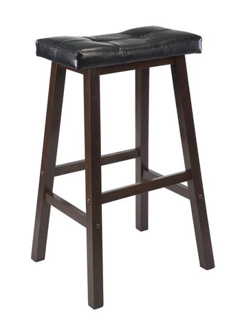 "Winsome Wood 94069 Mona 29"" Cushion Saddle Seat Stool, Black, Faux Leather, RTA - BarstoolDirect.com"