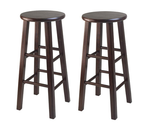 "Winsome Wood 94260 Set of 2 Square Leg, 29"" Bar Stool - BarstoolDirect.com"