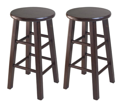 "Winsome Wood 94264 Set of 2 Square Leg, 24"" Counter Stool - BarstoolDirect.com"