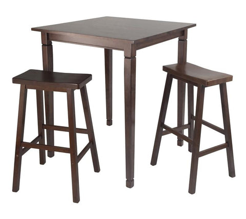 Winsome Wood 94300 3pc Kingsgate High/Pub Dining Table with Saddle Stool - BarstoolDirect.com