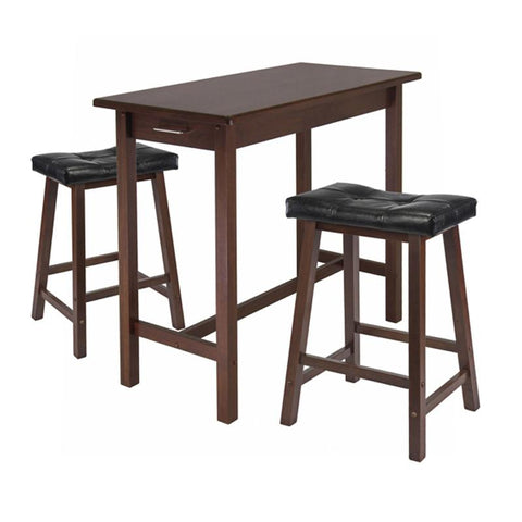 Winsome Wood 94304 3pc Kitchen Island Table with 2 Cushion Saddle Seat Stools - BarstoolDirect.com