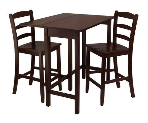 Winsome Wood 94334 Lynnwood 3pc Drop Leaf High Table with 2 Counter Ladder Back Stool/Chair - BarstoolDirect.com