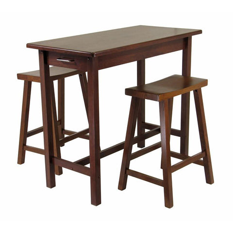 Winsome Wood 94344 3pc Kitchen Island Set; Table with 2 Drawers and Saddle Stools - BarstoolDirect.com
