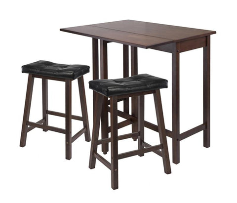 Winsome Wood 94346 3pc Lynnwood Drop Leaf Kitchen Table with 2 Cushion Saddle Seat Stools - BarstoolDirect.com