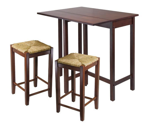 Winsome Wood 94347 Lynwood 3pc Drop Leaf Table with Rush Seat Stool - BarstoolDirect.com