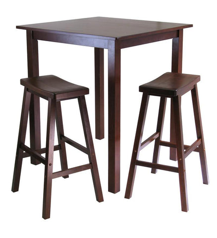 Winsome Wood 94349 Parkland 3pc Square High/Pub Table Set with 2 Saddle Seat Stools - BarstoolDirect.com