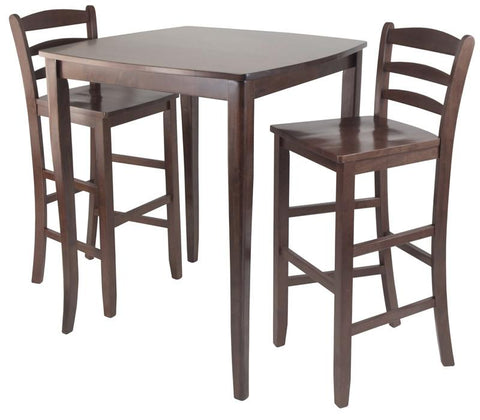Winsome Wood 94379 3pc Inglewood High/Pub Dining Table with Ladder Back Stool - BarstoolDirect.com