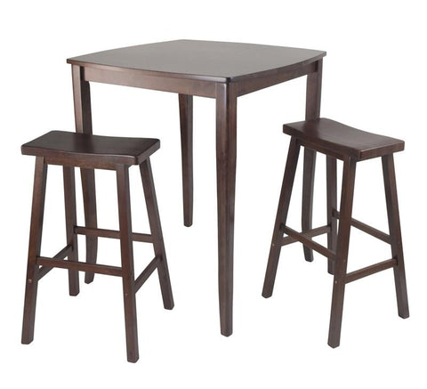 Winsome Wood 94380 3pc Inglewood High/Pub Dining Table with Saddle Stool - BarstoolDirect.com