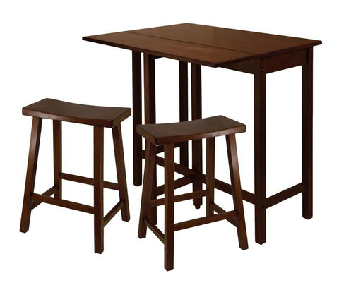 "Winsome Wood 94384 Lynnwood 3pc High Drop Leaf Table with 24"" Saddle Seat Stool - BarstoolDirect.com"