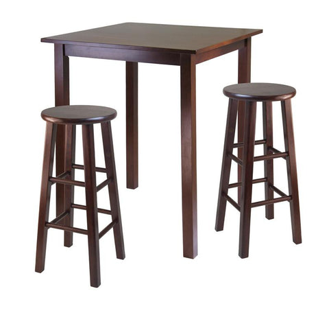"Winsome Wood 94390 Parkland 3pc High Table with 29"" Square Leg Stools Walnut - BarstoolDirect.com"