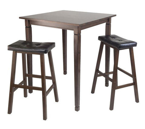 Winsome Wood 94399 3pc Kingsgate High/Pub Dining Table with Cushioned Saddle Stool - BarstoolDirect.com