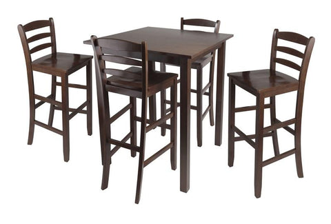 "Winsome Wood 94559 Parkland 5pc High Table with 29"" Ladder Back Stools - BarstoolDirect.com"