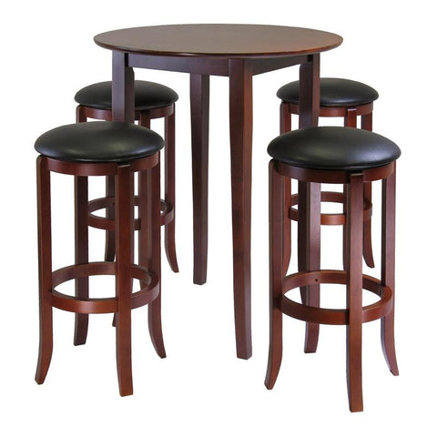 Winsome Wood 94581 Fiona Round 5pc High/Pub Table Set with PVC Stools - BarstoolDirect.com