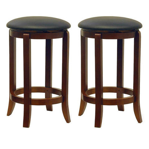 "Winsome Wood 94624 Set of 2 Faux Leather Swivel 24"" Stool, Assembled - BarstoolDirect.com"