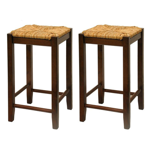 "Winsome Wood 94774 Set of 2, Rush Seat 24"" Stool, Assembled - BarstoolDirect.com"