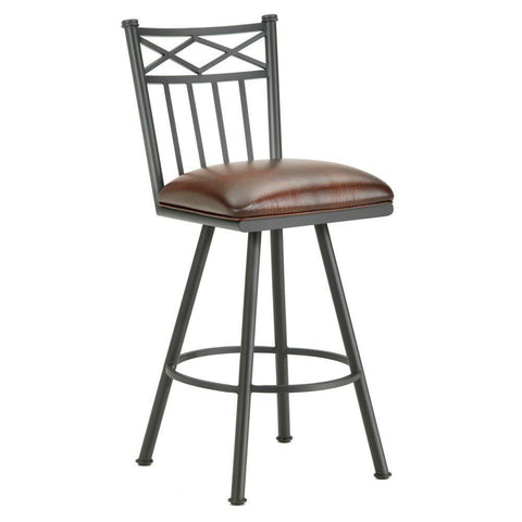"Iron Mountain 1103130 Alexander Swivel Bar Stool 30"" Seat Height w/ Alligator Brown Seat Fabric - Black Finish - BarstoolDirect.com"