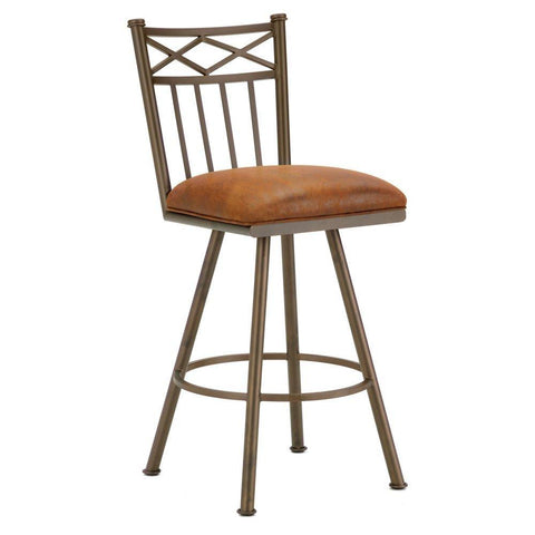"Iron Mountain 1103326 Alexander Swivel Counter Stool 26"" Seat Height w/ Mayflower Cocoa Fabric - Inca/Bronze - BarstoolDirect.com"