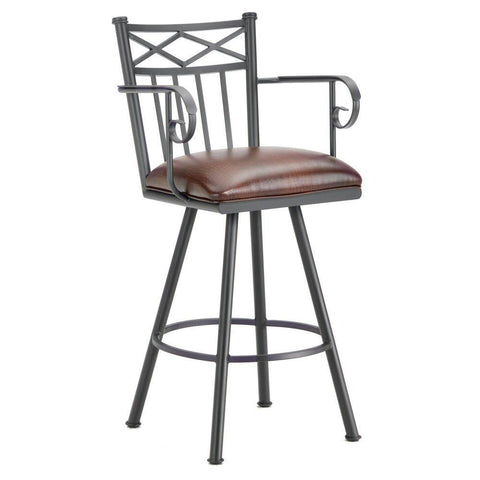 "Iron Mountain 1104126 Alexander Counter Stool W/Arms 26"" Seat Height w/ Alligator Brown Seat Fabric - Black Finish - BarstoolDirect.com"