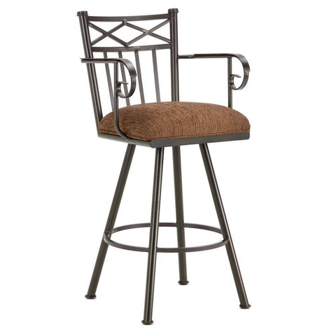 "Iron Mountain 1104426 Alexander Counter Stool W/Arms 26"" Seat Height w/ Ford Brown Fabric - Rust - BarstoolDirect.com"