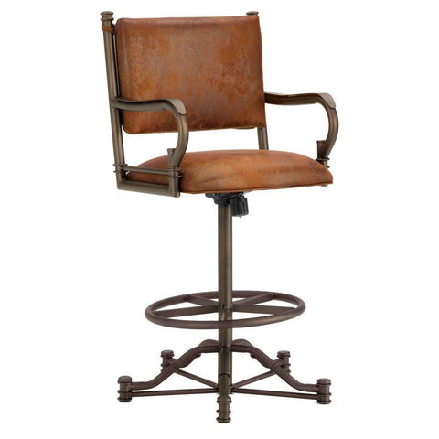 "Iron Mountain 1305326 Baltimore Tilt Swivel Counter Stool 26"" Seat Height w/ Mayflower Cocoa Fabric - Inca/Bronze - BarstoolDirect.com"