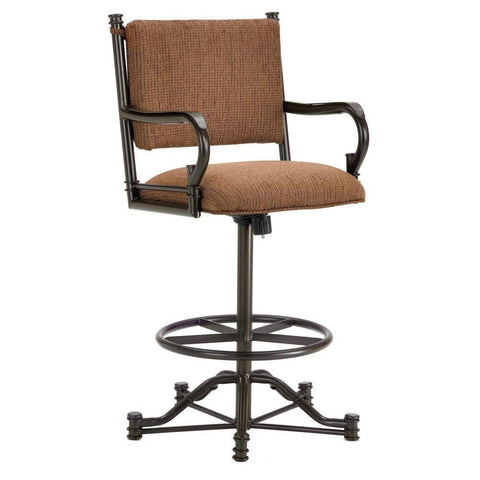 "Iron Mountain 1305426 Baltimore Tilt Swivel Counter Stool 26"" Seat Height w/ Ford Brown Fabric - Rust - BarstoolDirect.com"