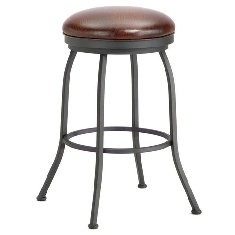 "Iron Mountain 2002130 Fiesole Backless Bar Stool 30"" Seat Height w/ Alligator Brown Seat Fabric - Black Finish - BarstoolDirect.com"