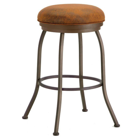 "Iron Mountain 2002326 Fiesole Backless Counter Stool 26"" Seat Height w/ Mayflower Cocoa Fabric - Inca/Bronze - BarstoolDirect.com"