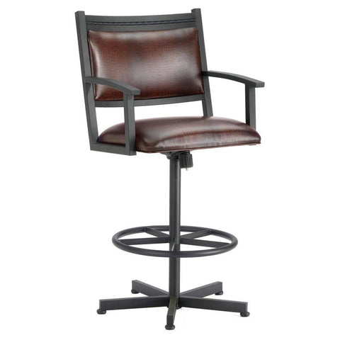 "Iron Mountain 2405126 Humphrey Tilt Swivel Counter Stool 26"" Seat Height w/ Alligator Brown Seat Fabric - Black Finish - BarstoolDirect.com"