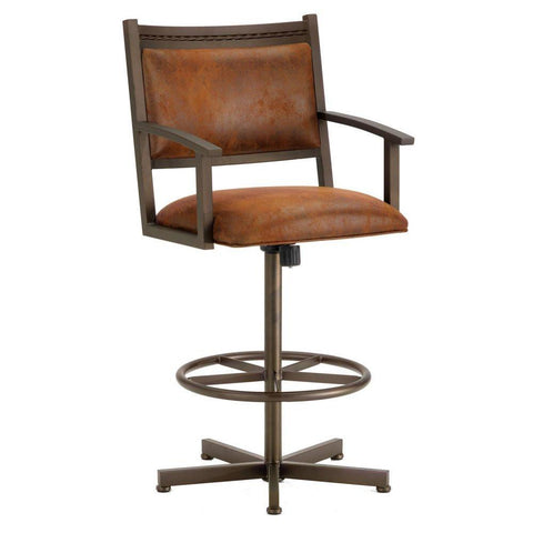 "Iron Mountain 2405330 Humphrey Tilt Swivel Bar Stool 30 "" Seat Height w/ Mayflower Cocoa Fabric - Inca/Bronze - BarstoolDirect.com"