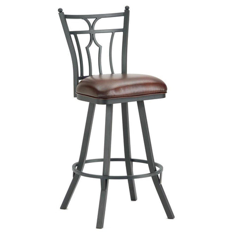 "Iron Mountain 3003130 Randle Swivel Bar Stool 30"" Seat Height w/ Alligator Brown Seat Fabric - Black Finish - BarstoolDirect.com"