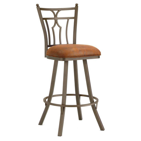 "Iron Mountain 3003330 Randle Swivel Bar Stool 30"" Seat Height w/ Mayflower Cocoa Fabric - Inca/Bronze - BarstoolDirect.com"